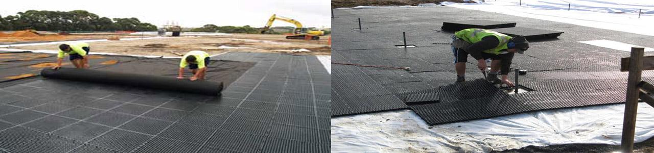 Thi công vỉ nhựa thoát nước với 2 lớp vải địa trồng cây